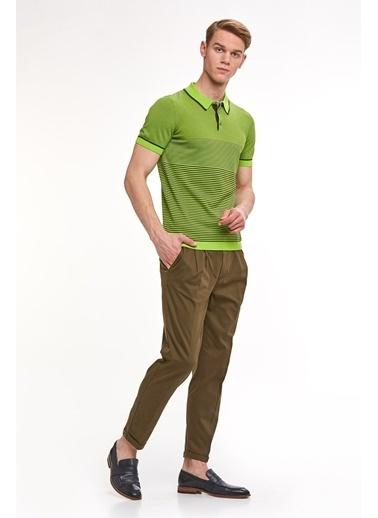 Hemington Giza Pamuk Çizgili Triko Polo Yeşil